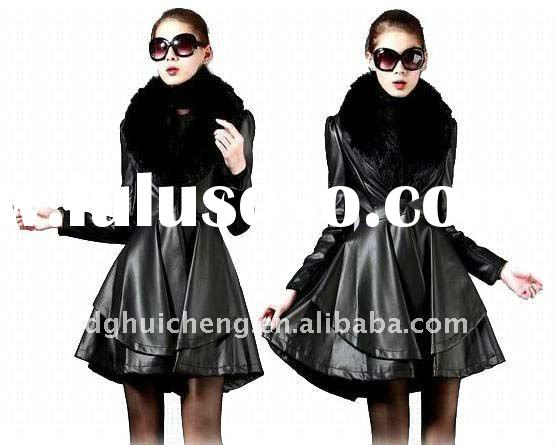 ladies long leather winter coat with detachable fur collar new fashion 2012
