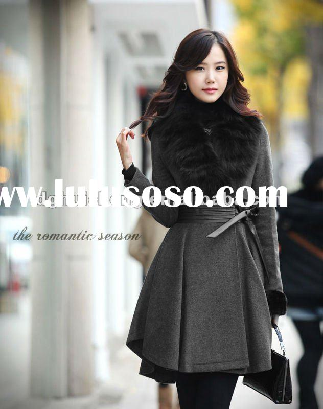 ladies long wool winter coats and jackets with fur collar new fashion 2012