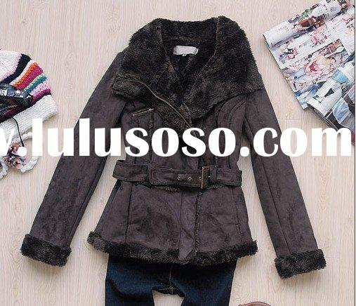 lady's leather coat,fashion fur winter coat [bl044201]