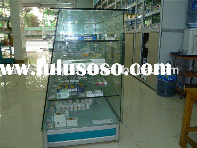 medicine store display cabinet, medicine store display case, medicine display rack