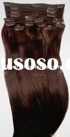 medium brown #4 clip in hair extensions, human hair extension