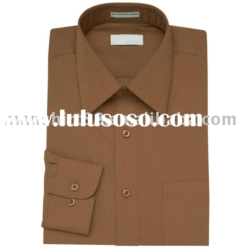 men's brown T/C dress long sleeve classical dress shirts