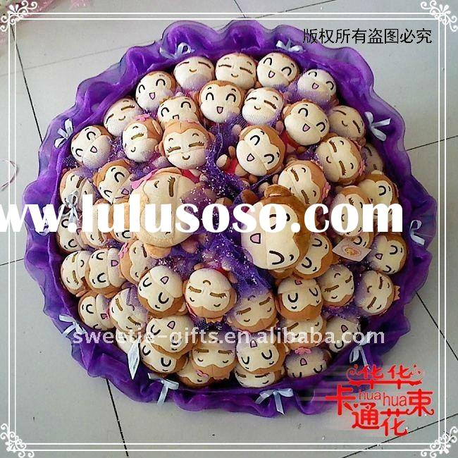 monkey doll silk flower for wedding decoration ideas