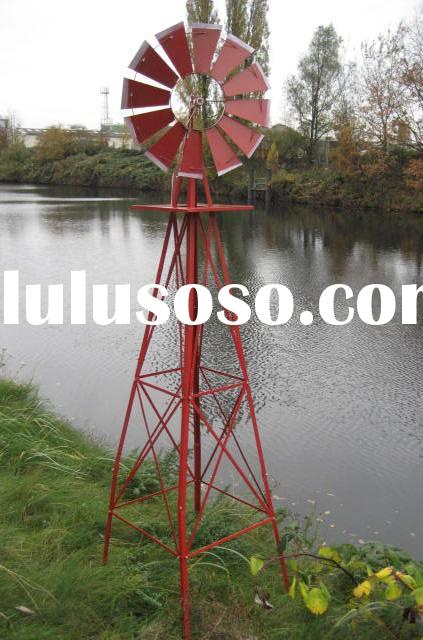 red spray metal windmill garden decoration