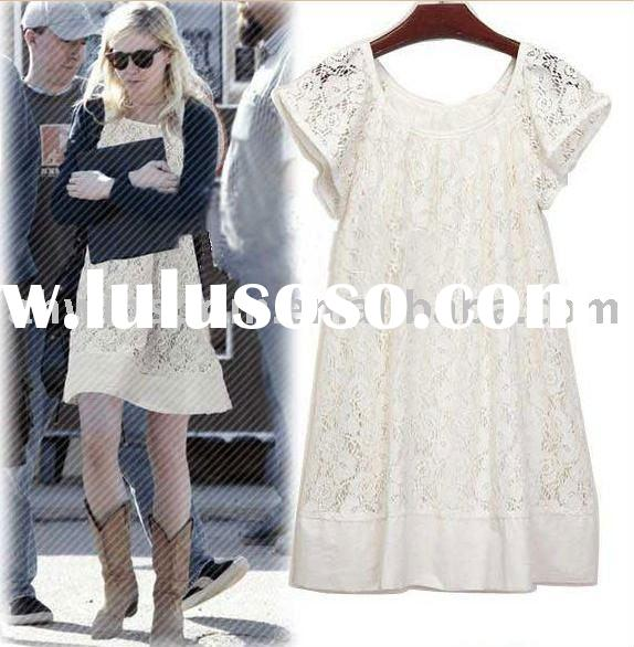 retial 2011 women summer new style cotton and lace one-piece dress/long t-shirt