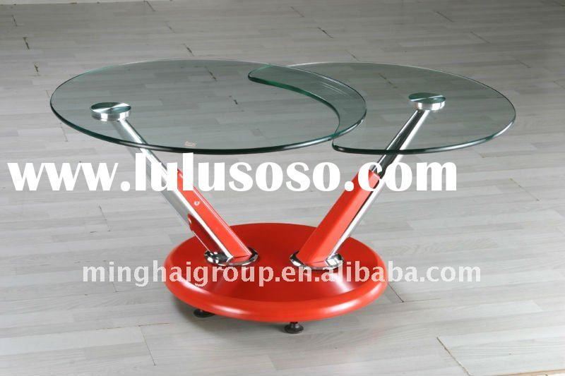 round center movable glass coffee table with red MDF base MCT-2184
