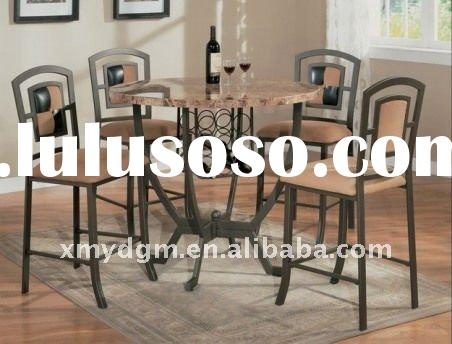 round dining room tables and chairs with marble grain top MLdining-H23