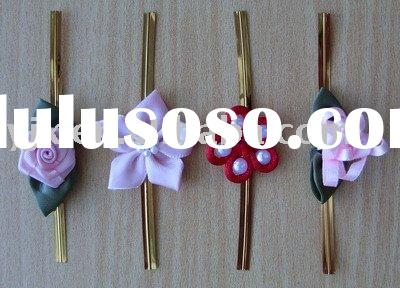 satin ribbon bow.artificial flower.