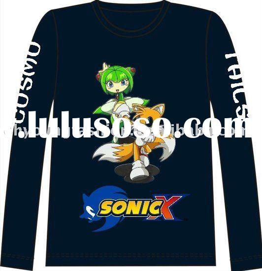 sonic x white t shirt 100% polyester cotton print