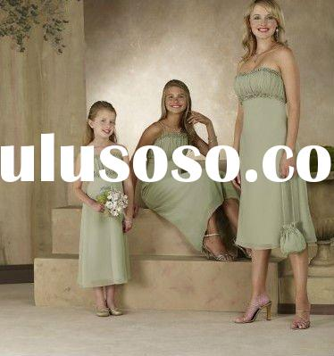 tea length green chiffon bridal party dress BM0371