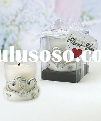 wedding favor--Silver Double Heart Candle Holders