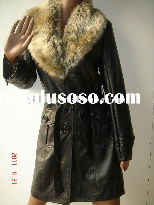 winter long coat with fur collar for ladies