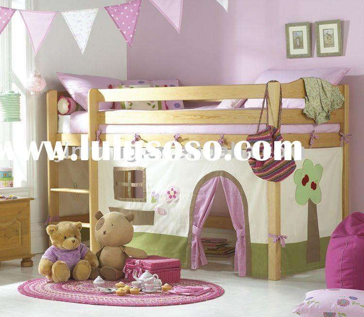 with play curtain loft bed set,bunk bed,wood bed