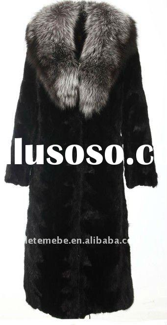women's long sheared mink fur coat with silver fox fur collar