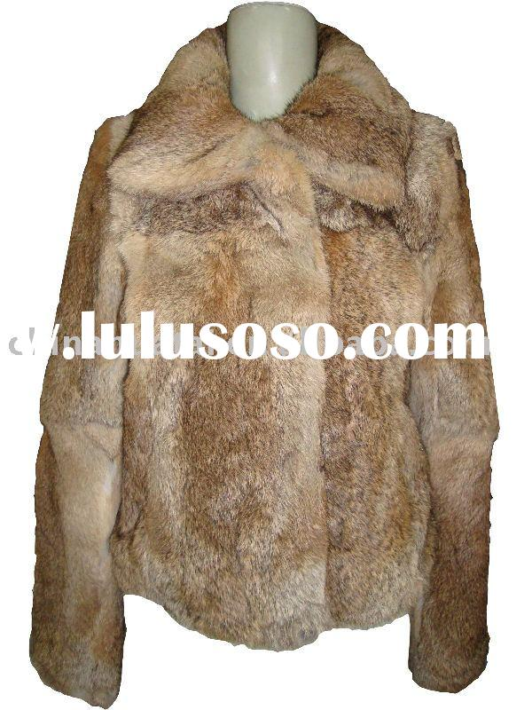 women's natural rabbit fur coats