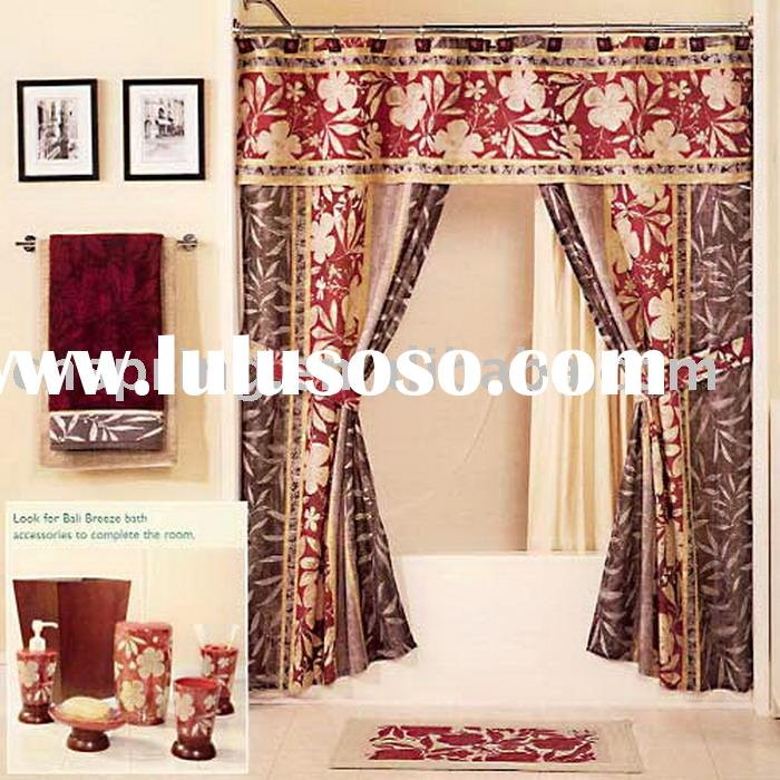 Brown Double Swag Shower Curtains With Valance, Brown Double Swag .
