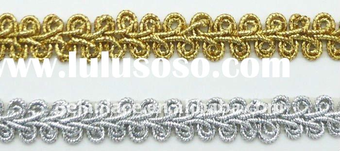 10mm african lace fabric/gold lace trim