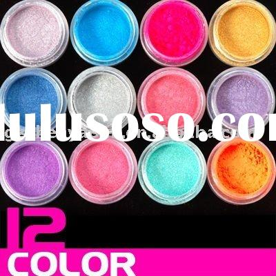 12 Color Nail Art Acrylic dust Pearl Powder kit make up