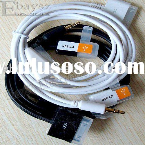 1.2M 2 in 1 USB 3.5mm AUX Audio Data Charger Cable For iPod/iPhone IP-166