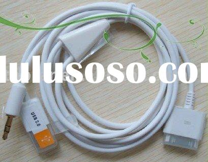 1.2M 3.5mm AUX Audio Data Cable 2 in 1 USB Cable For iPhone iPod