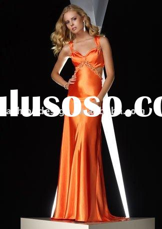 2010 beautiful orange satin evening dresses,prom dresses,party dresses,bridesmaid dresses,evening go