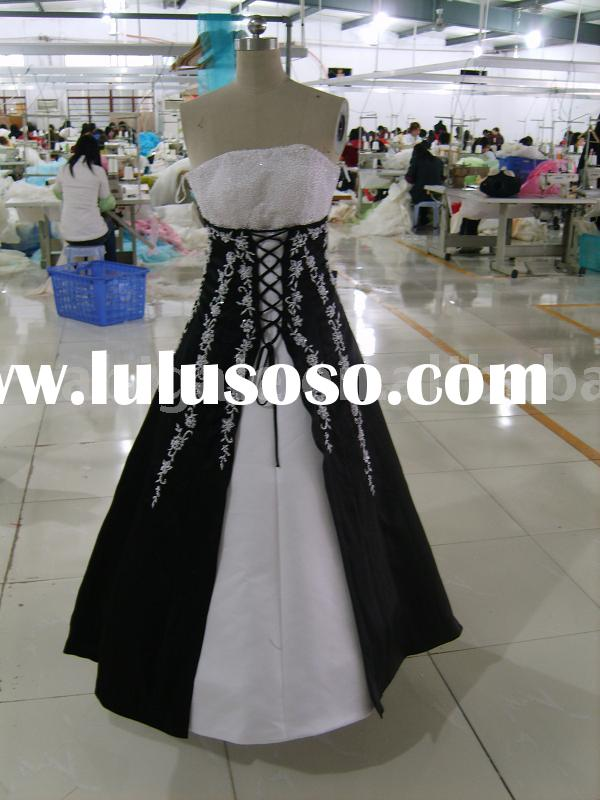 2011 Black and White Elegant Bridal Wedding Dress