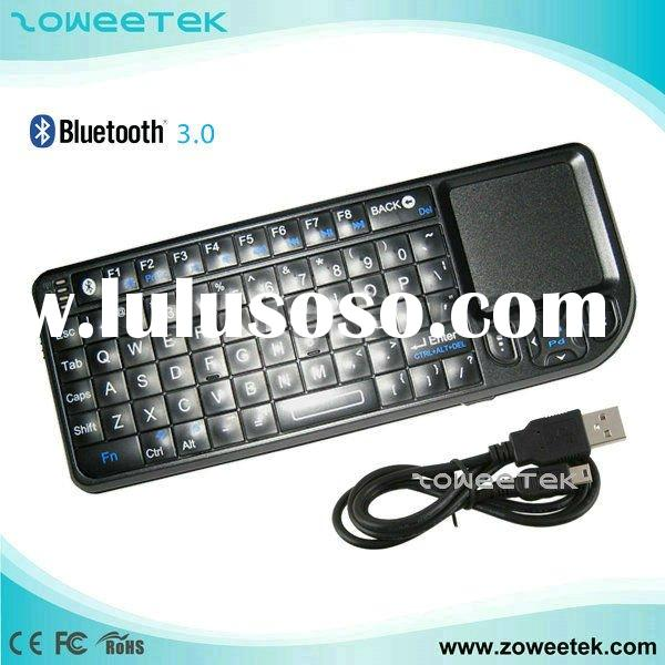 2011 Hot sale wireless Mini bluetooth keyboard with Touchpad for ipad, PC ,IPTV, Google TV ,WEB TV(Z