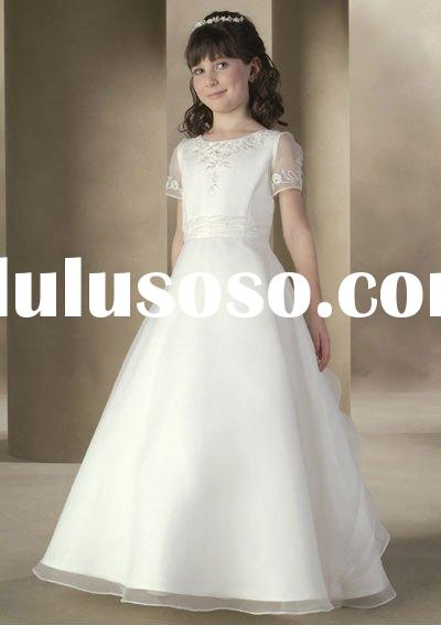 2011 New Desigh Flower Girl Dress/Flower Girl Dress for Wedding/Silk Satin Flower Girl Dress