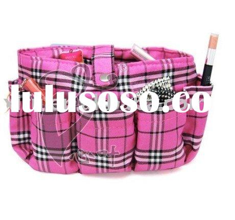 2011 New style!Korea multifunctional pink polyester-cotton cosmetic storage plaid bag and case