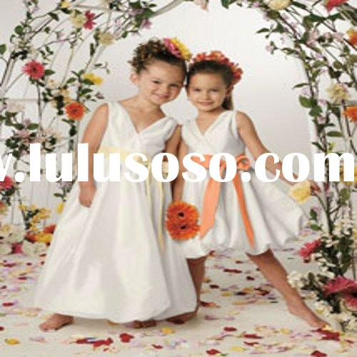 2011 Top Sale V Neck Sash Pleated Taffeta Flower Girl Dress Patterns