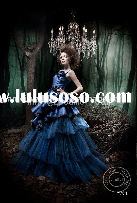 2011 W764 royal blue evening dress one shoulder