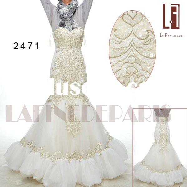 2011 design real weddingdress floor-length satin organza sweetheart with embroidery and beaded No.24