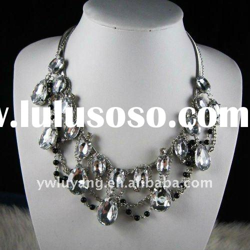 2011 fashion acrylic crystal metal women necklace jewelry as clothes accessories