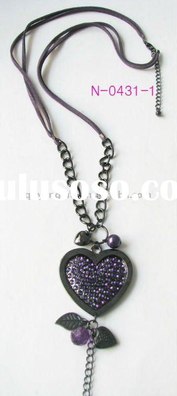 2011 fashion costume jewelry fancy stud amethyst rhinestone heart leather cord necklace