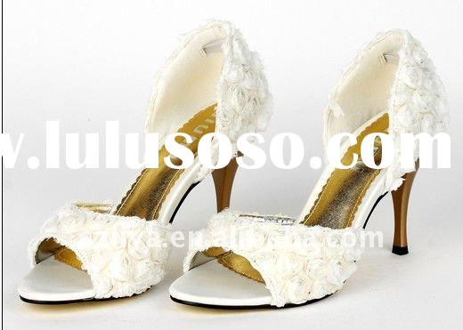 2011 high quality white red rose high heel shoes bridal shoes wedding shoes evening shoes party shoe