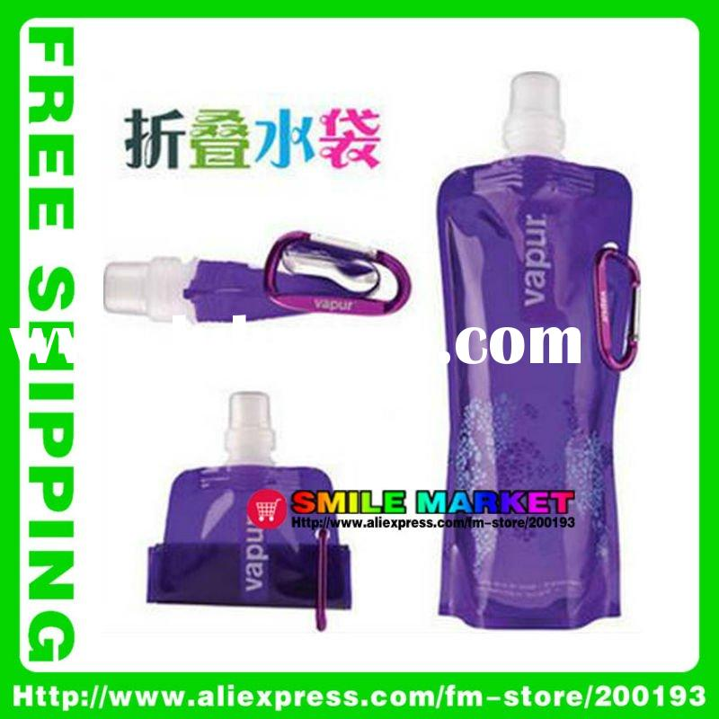 2011 newest item eco-friendly and non-toxic 480ml mix color plastic foldable water bottle wholesale