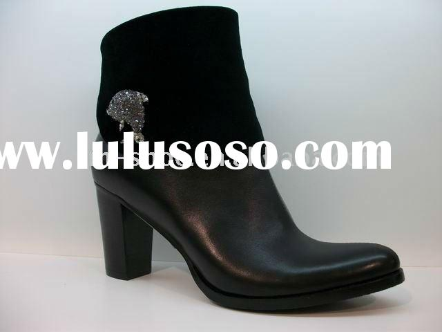 2011 rubber sole leather boots for women