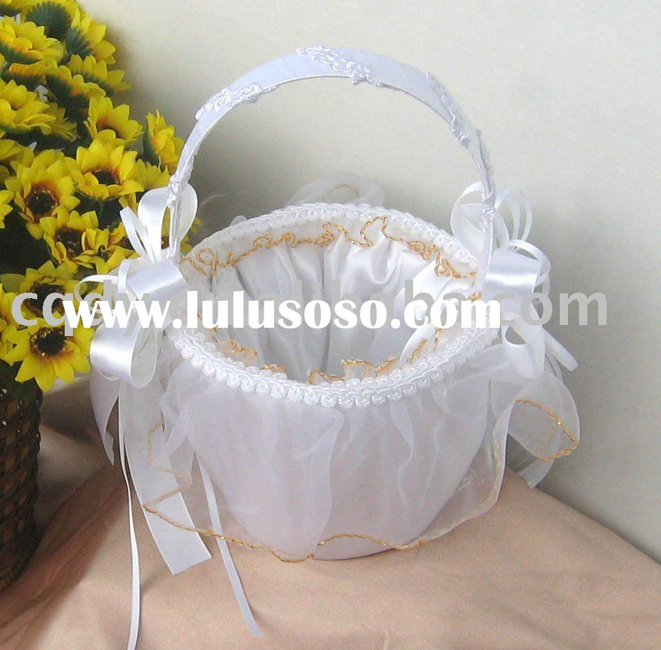 2011 wedding supplies/ Lace decoration flower girl basket/Wedding Flower Basket