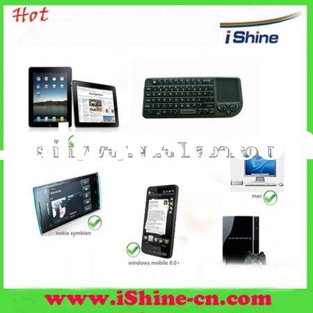 2012 Hot Selling Mini Bluetooth Wireless Keyboard with Multi-touch pad,laser pointer and backlight
