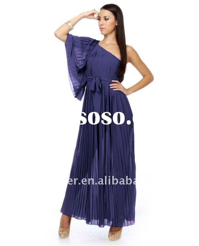 2012 Long Cool Drink One Shoulder Blue Maxi Evening Dress (abh407)