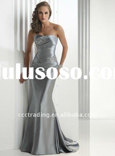 2012 Silver Satin Prom Dress Beaded Ruffled Sheath Evening Dress with Lace Closure EV028