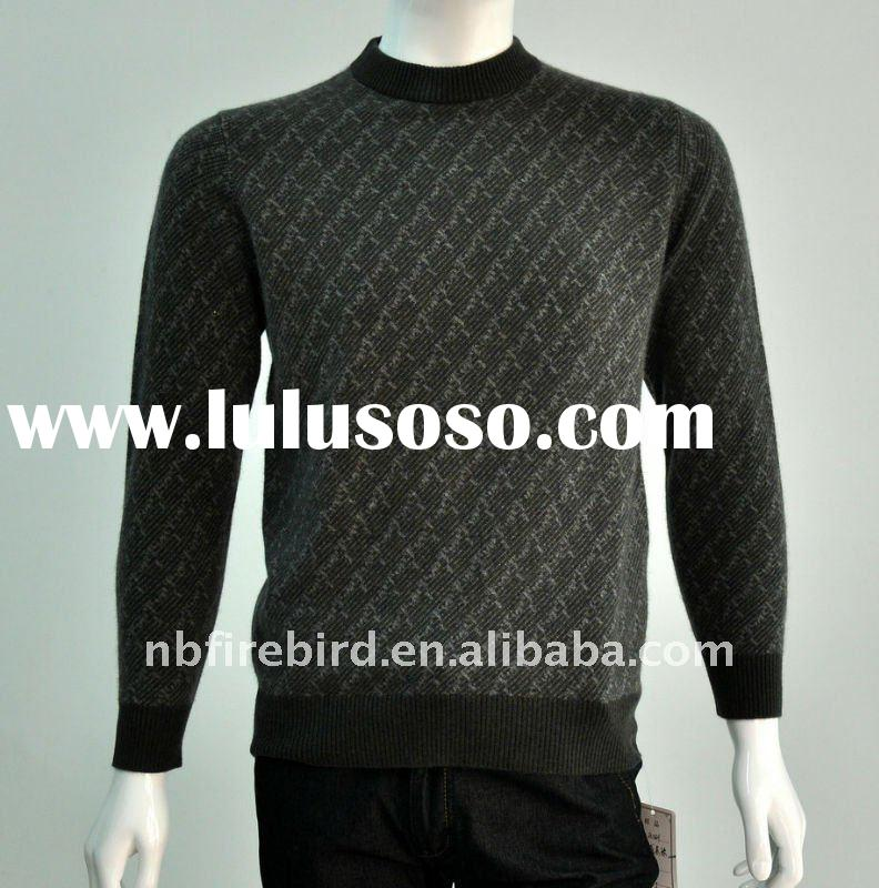 2012 fashion design Jacquard knit sweater for men