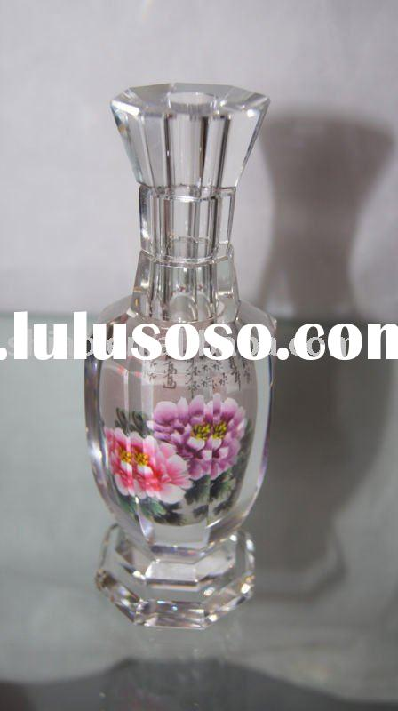 24% pbo crystal vase octagon shape with peony picture inside as hand painted flower vases antique fo