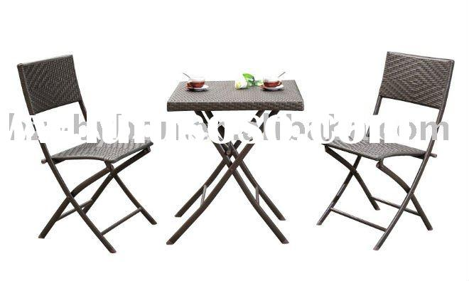 3-Piece Resin Wicker Folding Bistro Set