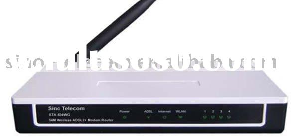 3-in-1 device as DSL modem, wireless G access point, and 4-port Ethernet router