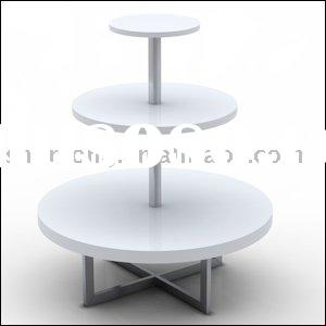 3 shelf round display table