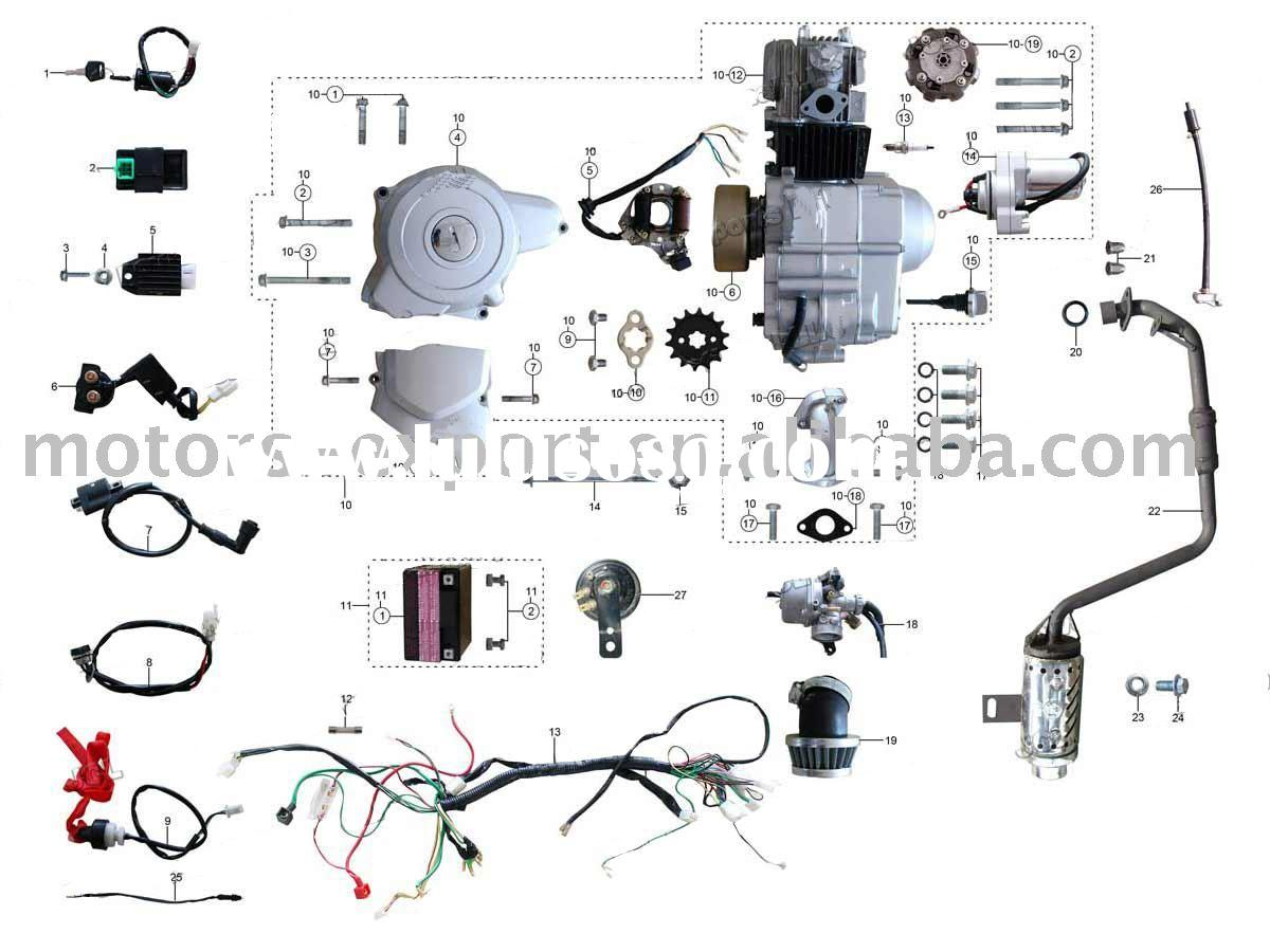 Atv 50cc 110cc on 49cc pocket bike parts diagram