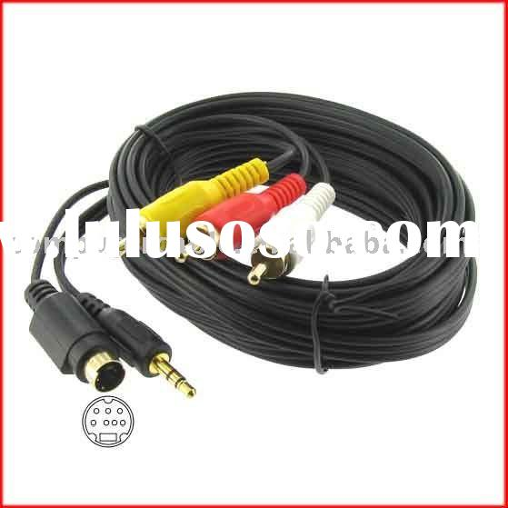 7 Pin S-Video 3.5mm Audio to 3 RCA PC to TV Cable