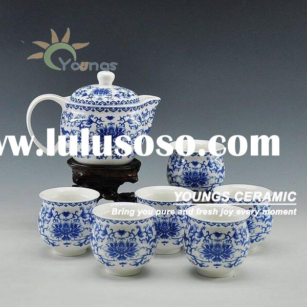 7 pcs blue and white tea set ceramic