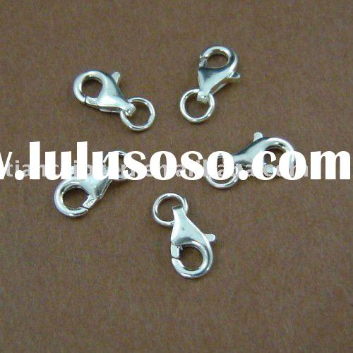 8mm Sterling silver lobster clasp with jump rings Jewelry Accessories Findings Fittings